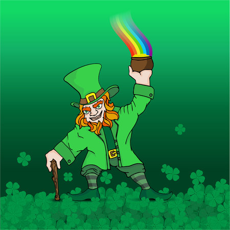 Saint Patrick's day poster with Leprechaun with  treasure, rainbow on  green background of clover