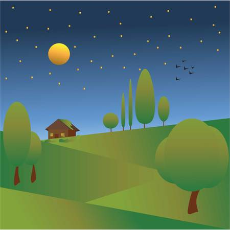Seasons- summer night vector illustration