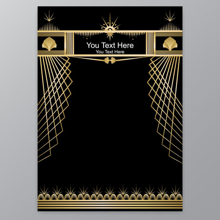 Art Deco template golden-black for A4 page, menu, card, invitation