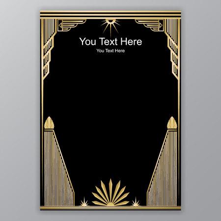 아트 데코 템플릿 황금-검정, A4 페이지, 메뉴, 카드, 초대장, ArtDeco  Art Nuvo 스타일의 골동품, 아름다운 bakcground.