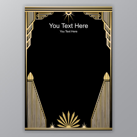 Art Deco template golden-black, A4 page, menu, card, invitation,Antique in  ArtDeco/Art Nuvo style, beautiful bakcground . Stok Fotoğraf - 97382632