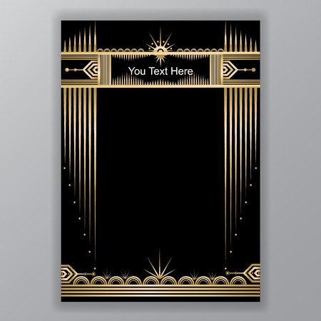 Art Deco template golden-black, A4 page, menu, card, invitation, Moon and stars in ArtDecoArt Nuvo style, beautiful bakcground .