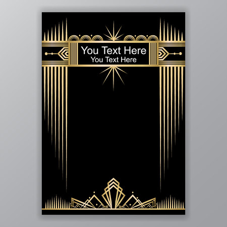 Gold and black Art Decor template Ilustracja