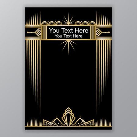 Gold and black Art Decor template Illustration