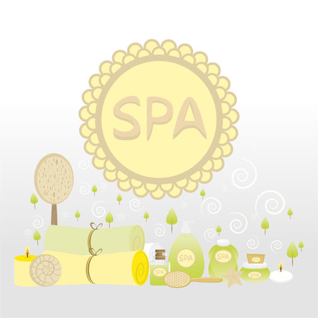 Spa concept, beauty salon, massage ,aromatherapy, logotype, label, sticker, tag. Bath supplies. Vector illustration, planet.