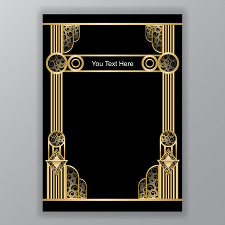 art deco greece  columns a4 template swirl and curls Illustration