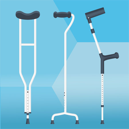 Crutches set vector illustration physiotherapy