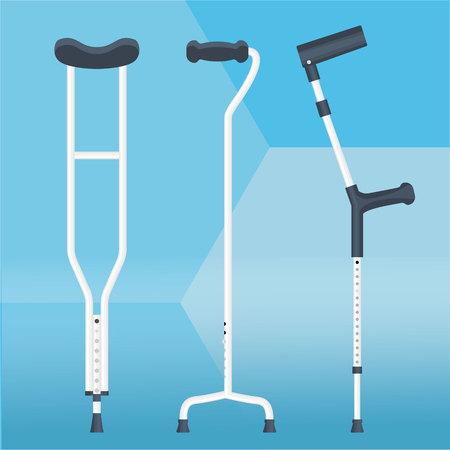 Krücken setzen Vektorillustration Physiotherapie Standard-Bild - 102132873