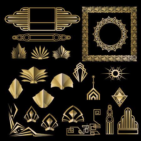 Art Deco, Art Nuevo elementos geométricos, marcos de triángulos, círculos. Conjunto de marcos de bricolaje. Gran Gatsby, marco dorado de fiesta.