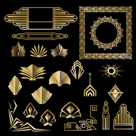 Art Deco , Art Nuevo geometric elements, frames  triangles, circles. DIY set of frames. Great Gatsby, party golden frame . Ilustração