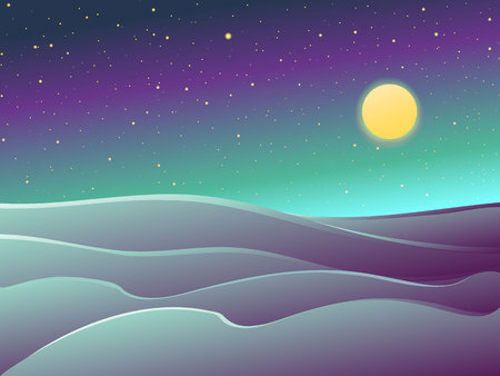 Desert night landscape , dunes, stars and full moon. Dark vector cartoon illustration.
