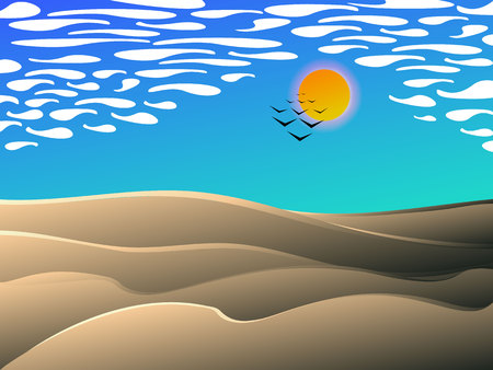 desert midday landscape, vector cartoon illustration 写真素材 - 102104875