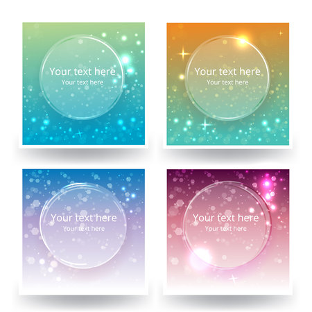 Cute abstrack bokeh backgrounds set, for web or print . Sunset colors blured backs.