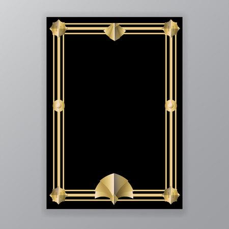 Art Deco template golden-black, A4 page, menu, card, invitation, elegat geometric  leafs ArtDeco/Art Nuvo style, beautiful bakcground . Illustration