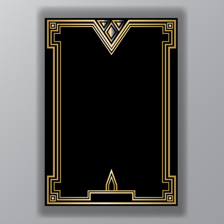 Art Deco template golden-black, A4 page, menu, card, invitation, X symbol and coll triangles lines  ArtDecoArt Nuvo style, beautiful bakcground .