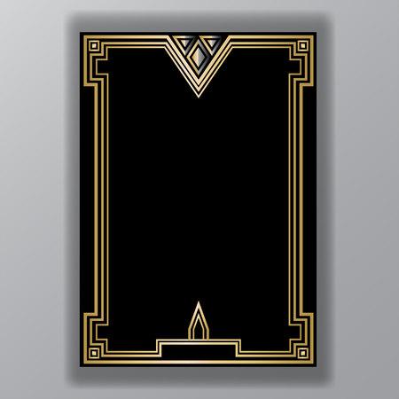 Modello Art Déco nero dorato, pagina A4, menu, carta, invito, simbolo X e linee di triangoli coll stile ArtDeco / Art Nuvo, bellissimo sfondo. Vettoriali