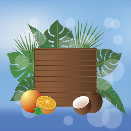 Summer banner beach style vector illustration , wood desk and tropic fruits with blurred sky and sea
