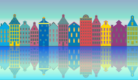 Amsterdam city landscape futuristic beautiful illustration , vector facades clouds , canal , sun , houses .Holland , tourist urban illustration . Vectores