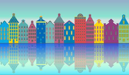 Amsterdam city landscape futuristic beautiful illustration , vector facades clouds , canal , sun , houses .Holland , tourist urban illustration . 向量圖像