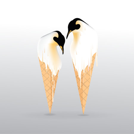 Pinguin melting ice-cream illustration, with sweet waffle conus .Realationships , friendship , global warming .