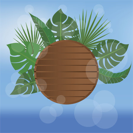 Summer banner beach style vector illustration , wood desk and tropic palms leafs blurred sky and sea