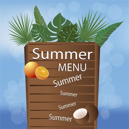 Summer beach menu vector illustration, wood deck , palms leaf blurred ocean . Cool creative flayer, banner, brochure . Hot season with tropic fruits orange and coconut