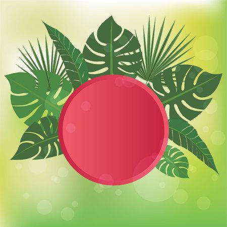 Summer concept for banner , pink Frisbee hot summer day vector illustration