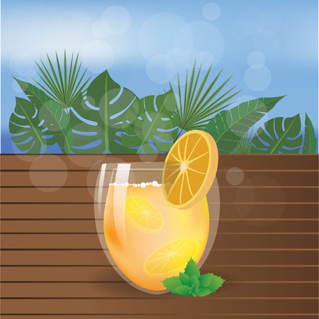 Summer beach  tea or juice on wood table with palms leafs and sea .