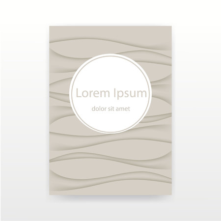 Creative abstract concept for cover , vector background in pastel beige color , wrinkled wave fabric 3D illustration.