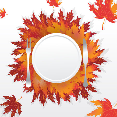 Autumn leaves with plate fork  and knife , served holidays table , romantic motive illustration with falling leafs, thanksgiving table. Foto de archivo - 104607707