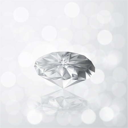 Diamond on grey white color bokeh light with defocused background , vector illustration for print and web .Diamonds are the girls best friend, creative banner . Reklamní fotografie - 113572184