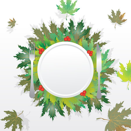 Autumn leaves round  label ,with falling leafs circle frame for print and web sale banner and poster blank vector illustration with plate fork and knife and cranberries. Stock Illustratie