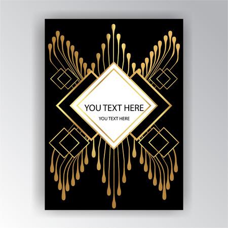 Art Deco template golden-black, A4 page, menu, card, invitation, Sun and city lights in a ArtDeco/Art Nuvo style, beautiful bakcground .