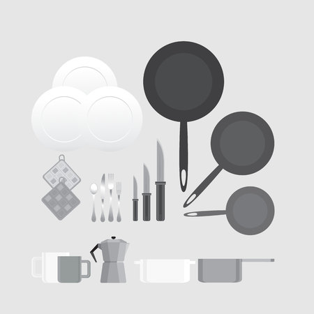 Creative black and white kitchen equipment illustration for web and print minimalistick flat vector cartoon 向量圖像