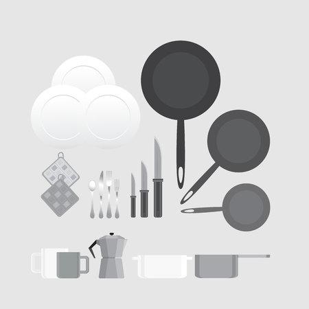 Creative black and white kitchen equipment illustration for web and print minimalistick flat vector cartoon Illustration