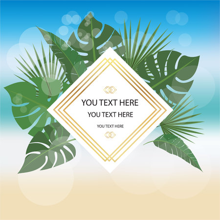 Summer background with rhombus  golden white label , for web and print with palm leafs .