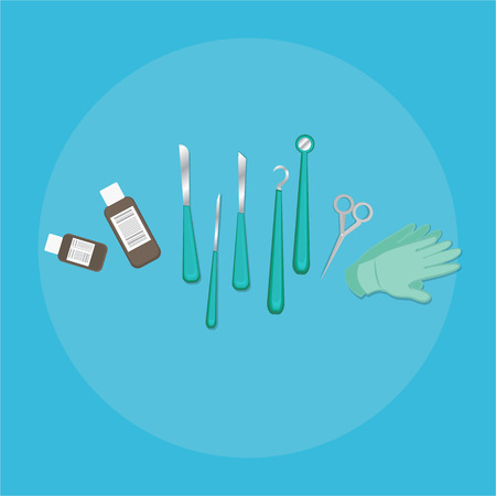 Medical equipment flat web and print illustration of scalpel , creative concept for pharmacy care vector cartoon set for health care light blue .