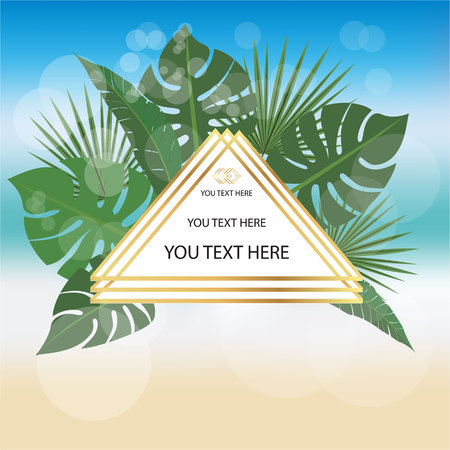 Triangle label on blurred beach background with palm leafs and golden pseudo 3d lines . Elegant background for print and web sales, banners and many more.