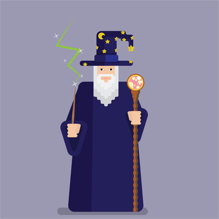 Pixel wise mage with wand and staff. Cool and funny cartoon charachter for games and books. Wizard for print and web
