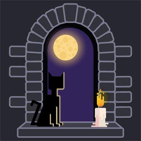 Paisaje nocturno, fondo de luna llena horror helloween. Retro juegos antiguos e impresión.Ilustración de dibujos animados lindo