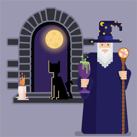 Pixel mage with  bowl and staff and night window . Cool and funny cartoon charachter for games and books. Wizard  for print and web