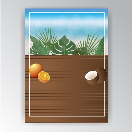 Cool wooden menu template for bar or restaurant , web and print product . Beach vacation tropic motive .Cocount and oranges .