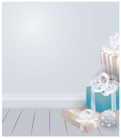 Room with Christmas gifts boxes and tree balls beautiful  luxury vector  silver white background , X-mas card and poster nice illustration with wooden parcel floor . Romantic new year gifts .