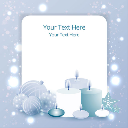 Sale business template with xmas tree balls and candles,  cute label for sale poster decoration . Beautiful cover template for Christmas card black ,silver and blue with bokeh shiny glow.