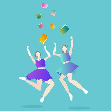Girls graduated, jumping young woman college , university , creative concept, set speech in final day , girls power cartoon illustration .