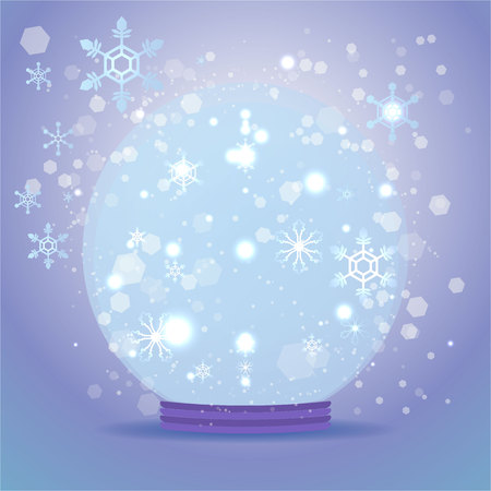 Cute cartoon snow globe transparent vector template for anything, merry christmas, happy new year, cute winter decoration