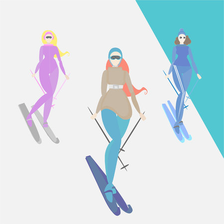 Women do ski, creative cartoon funny illustration for web and print retro style skier girls , winter vacation lifestyle .