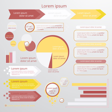 Set of infographic elements in yellow white and strawberry colors with cartoon glass circles. Circle, pie chart, world  arrow  timeline, text bubble, diagram, graph vector templates. For web and print
