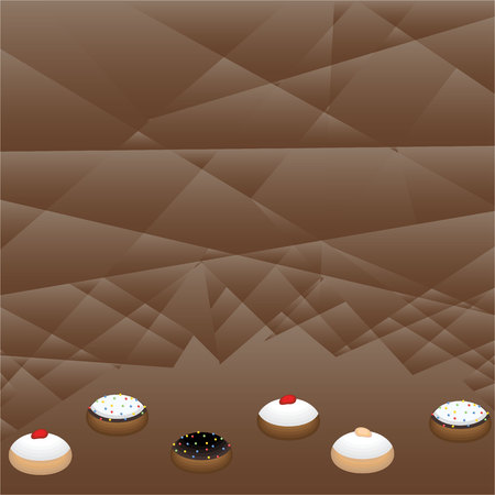 Cute flat cartoon  page template with many cinds of doughnuts  , donut tasty sweet jelly doughnut hanukkah symbol Raspberry Jelly , chocolate , white chocolate, dolce de leche