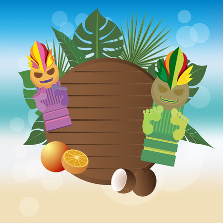 Tiki mug with exotic menu for web design and print. Creative background with wooden table Vektorové ilustrace